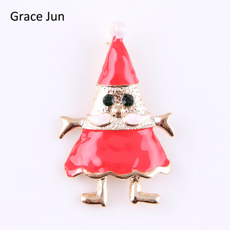 Grace Jun Korea Style Enamel Rhinestone Cute Santa Claus Brooches for Christmas Fashion Accessorey Elegant Jewelry Brooch Pins