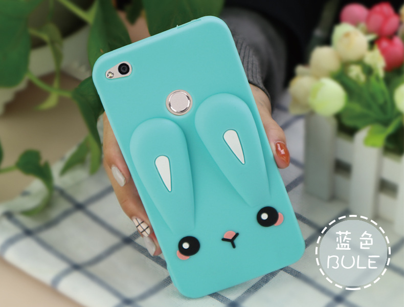 Silicon protective back cover for honor 8 lite or honor 9 case with 3D rabbit Shock Proof bumper