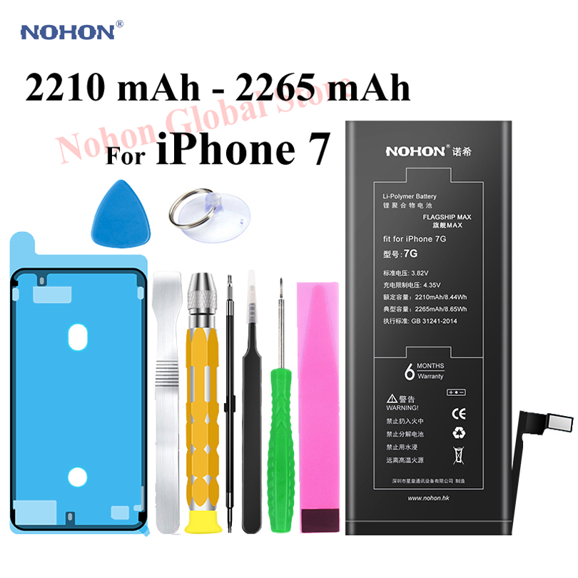 Nohon 2265mAh Battery For Apple iPhone 7 7G iPhone7 i Phone 7 Batteries Replacement Phone Li-polymer Bateria +Tools For iPhone 7 iphone