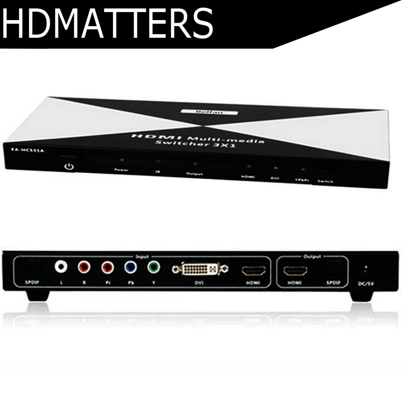 HDMI DVI Ypbpr component to HDMI Multi-media Switcher with toslink audio in&out+remote control цена