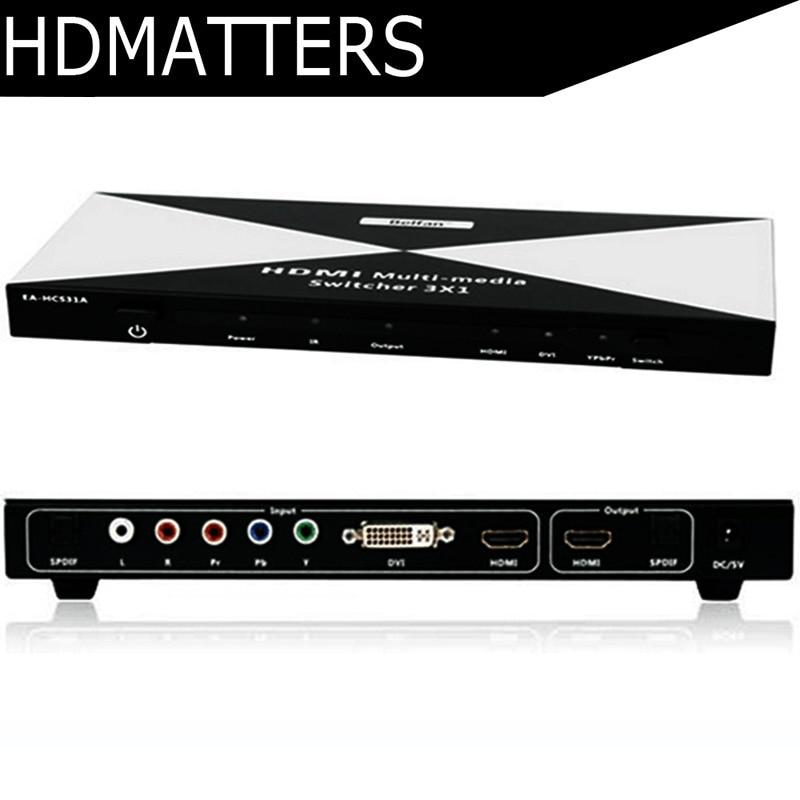 HDMI DVI Ypbpr composant HDMI multimédia Switcher avec toslink audio in & out + télécommande