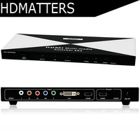 HDMI DVI Ypbpr component to HDMI Multi media Switcher with toslink audio in&out+remote control