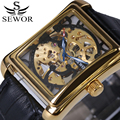 luxury brand Men's Antique Watch skeleton wrist watches mechanical Hand wind watches vintage leather clock relogio masculino