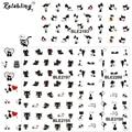 Rolabling gato negro lindo y dulce pareja gato imagen de Dibujos Animados de uñas decoración de uñas etiqueta de Transferencia de Agua Etiquetas del clavo l herramientas
