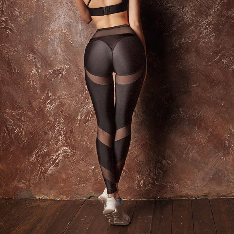 New Hotsale Women Hollow Net Leggings Patchwork Trangle Shape Black Fitness Workout Drop Shipping Leggings
