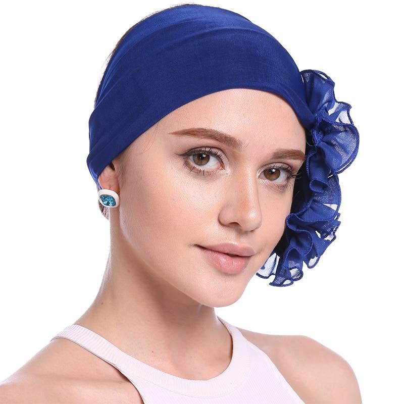 Babalet Wanita Elegant Soft Side Kedutan Ruffle Bunga Muslim Turban - Pakaian kebangsaan - Foto 6
