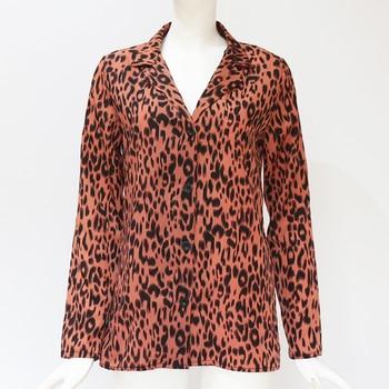 Women Blouses Autumn Vintage Leopard Blouse Long Sleeve Turn Down Collar Lady Office Shirt Loose Tops Plus Size Blusas Chemisier 6