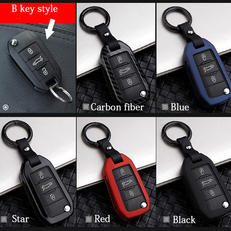 Car Accessories for Peugeot 308 3008 2008 508 4008 408 5008 key bag cover Aluminum alloy decoration protection Key Case for Car in Key Case for Car from Automobiles Motorcycles