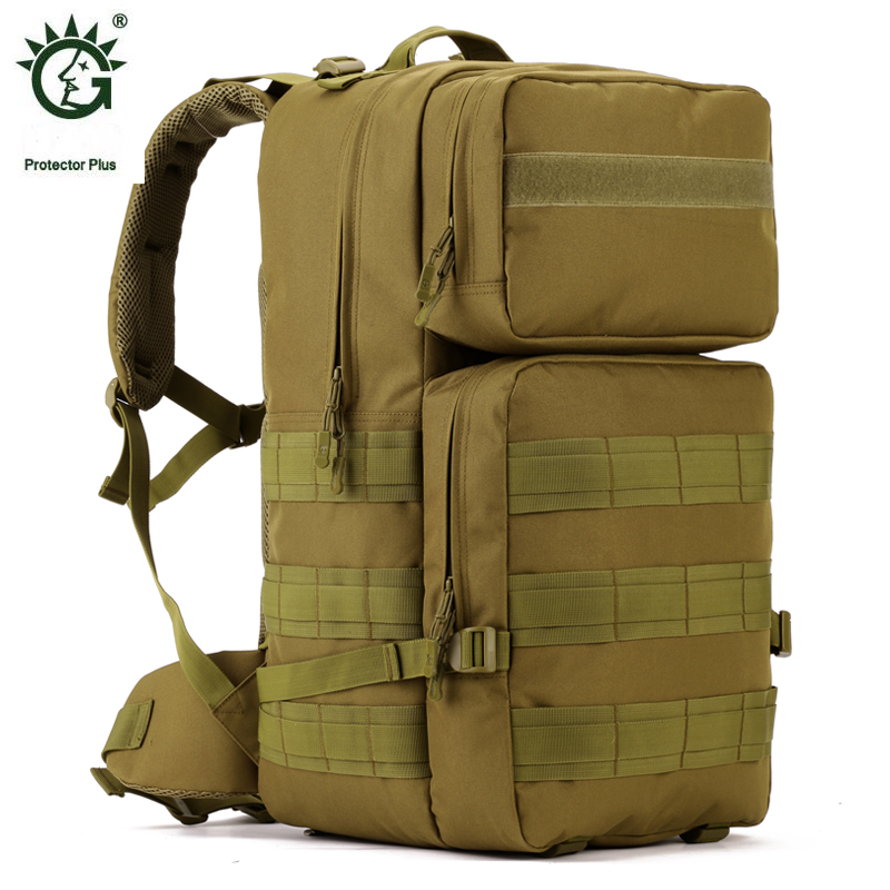 Protector Plus Rucksack 55L Waterproof Travel Military Tactical Bag Backpack For Camouflage Outdoor Hiking Backpacks Bags protector plus 25l waterproof nylon backpacks military backpack double shoulder multifunction women bag men travel backpack