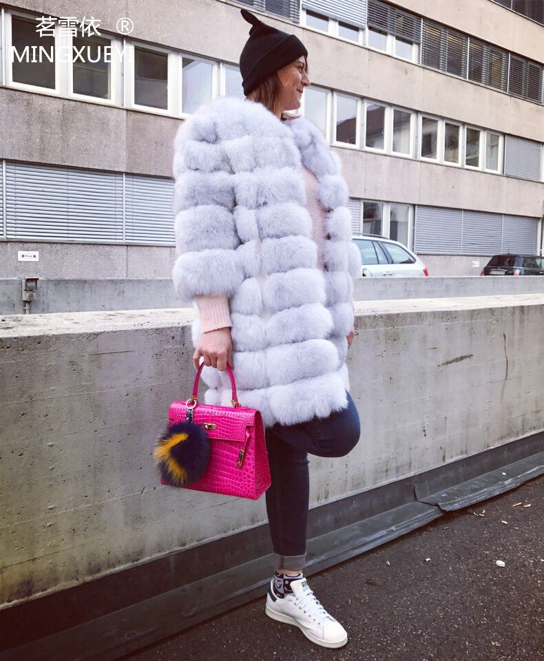 Real fur fox fur vest is 90 cm long coat sleeves design women free shipping