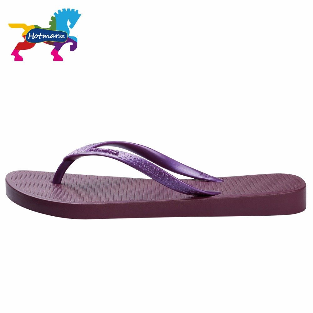 Hotmarzz Summer Women Flip Flop Flat Sandals Beach Purple Shoes Solid Color  Simple Slides Free Shipping Slippers HM0736-in Slippers from Shoes on ... 2a1546d2dd3a