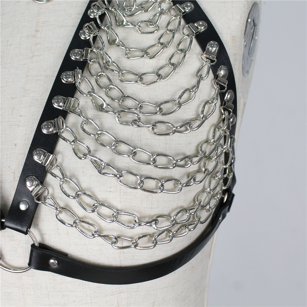 Sexy Ladies Leather Harness Bra Chain Cage Hollow Out Crop Top Bondage For Women Pastel Gothic Rave Tassel Night Club Clothing in Garters from Underwear Sleepwears