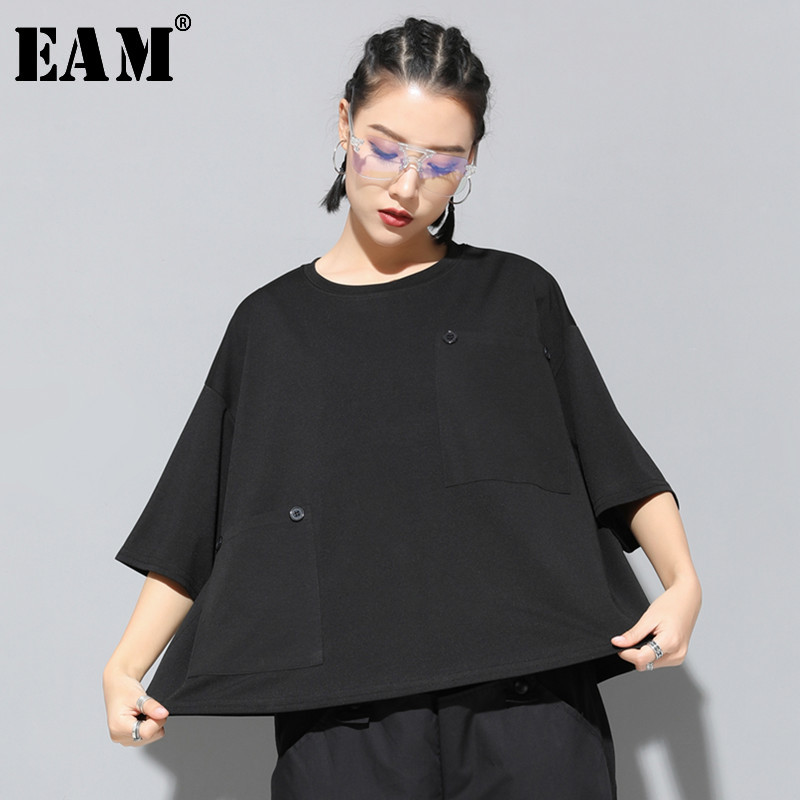 [EAM] 2020 New Spring Summer Round Neck Three Quarter Sleeve Black Loose Big Size Pocket Stitch T-shirt Women Fashion Tide JT149