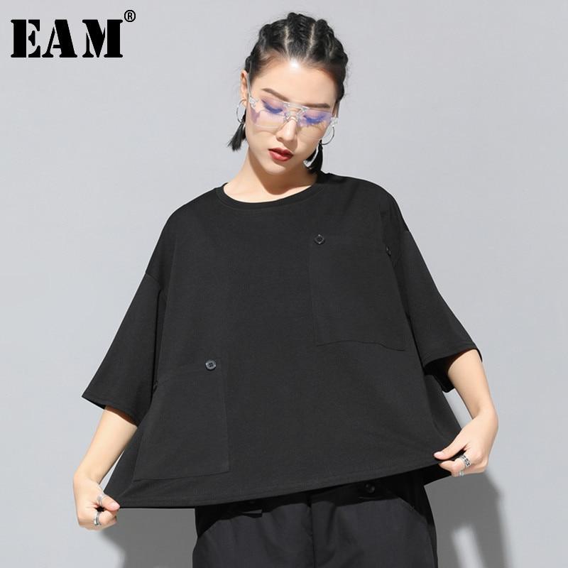 [EAM] 2020 New Spring Summer Round Neck Three Quarter Sleeve Black Loose Big Size Pocket Stitch T-shirt Women Fashion Tide JT149