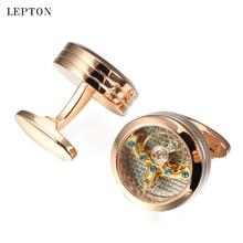 Lepton Gold Color Tourbillon liikumine Mansetinööbid meestele Pulmad peigmees Steampunk hammasratta mansetinööbid Mansettlinkid Relojes gemelos