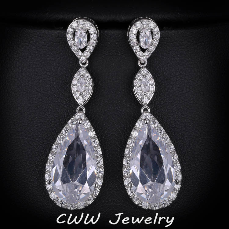 CWWZircons Design Luxury Micro Pave Water Drop CZ Crystal Long Earrings For Women With Zircon Stones