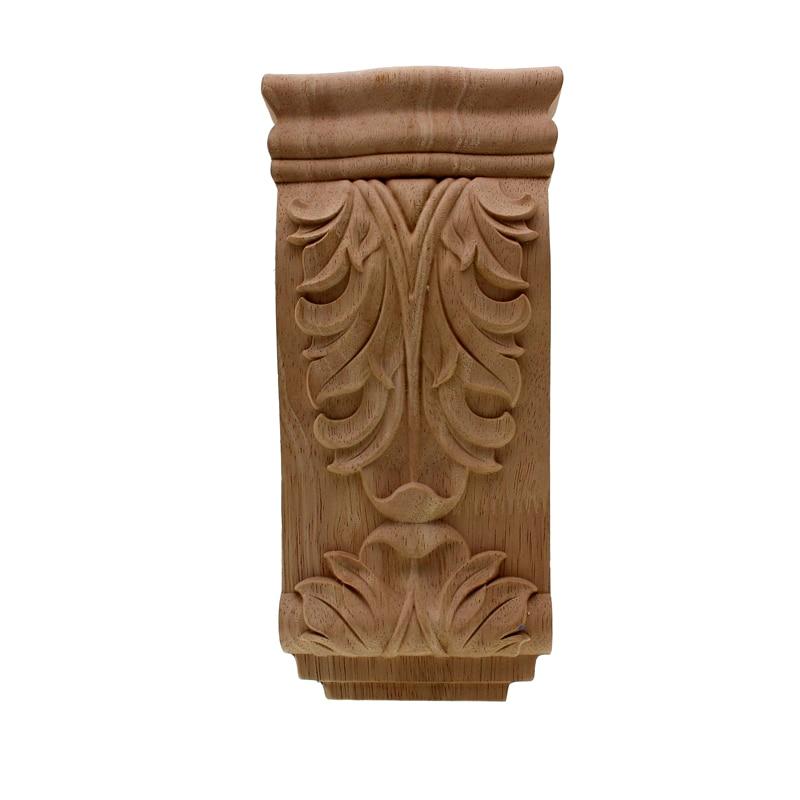 VZLX European Oak Wood Floral Carving Applique Vintage Home Decor Decoration Accessories Door Cabinet Furniture Figurines