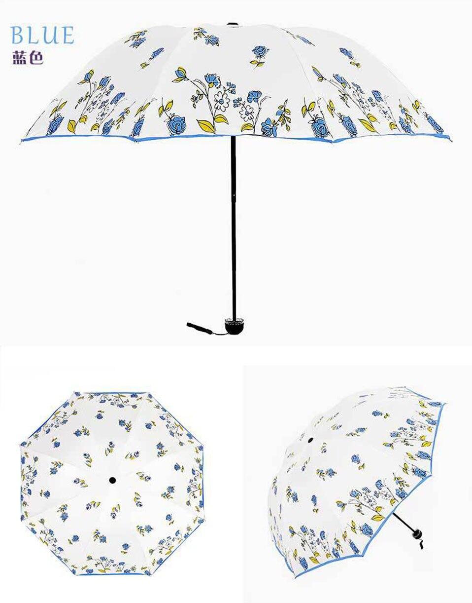 Full Automatic Reinforced Flower Umbrella Three Folding Female Parasol Umbrella Rain Women Windproof Cute Mini Folding Umbrella (20)