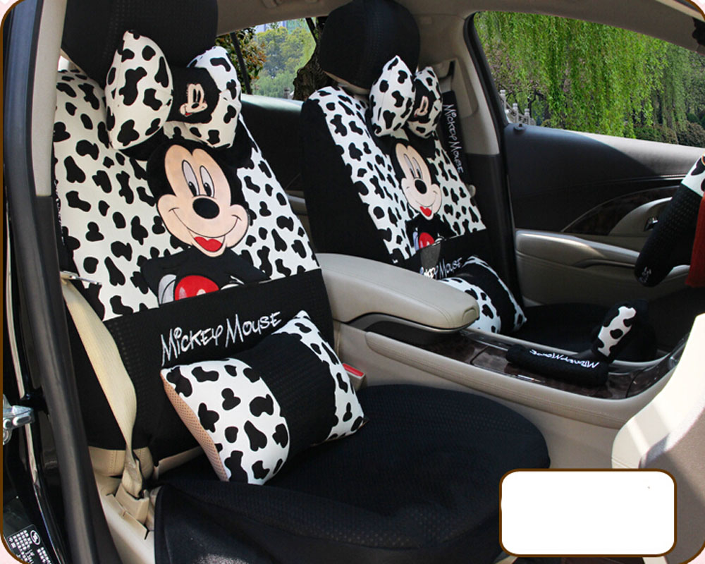 20ps 2016 new universal four season cartoon mickey mouse car seat cover seat covers steering. Black Bedroom Furniture Sets. Home Design Ideas