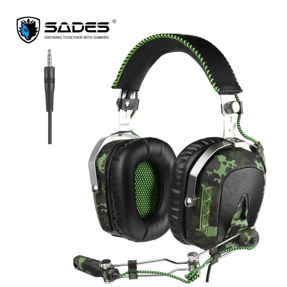 SADES SA926 Gaming Headset 3.5mm Wired Over-Ear Headphones with Mic for PC/PS3/PS4/Xbox One/Xbox 360/Phone/Mac/Laptop(ArmyGreen) sades wings headphones 3 5mm phone call and music earphone portable in ear gaming headset for pc xbox one ps4