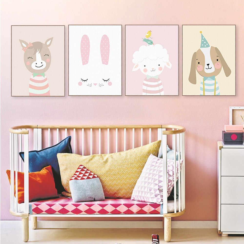 Милый кавайный мультяшный олень, Медведь, Кролик, плакаты, скандинавские настенные художественные принты, Картина на холсте для девочек, детская комната, домашний декор