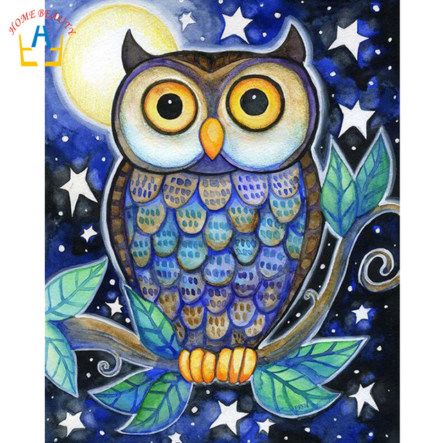 HOME BEAUTY Diy Digital Oil Painting Owl Picture Modular for Drawing By Numbers Home Decor Cartoon Paintings on The Wall E997