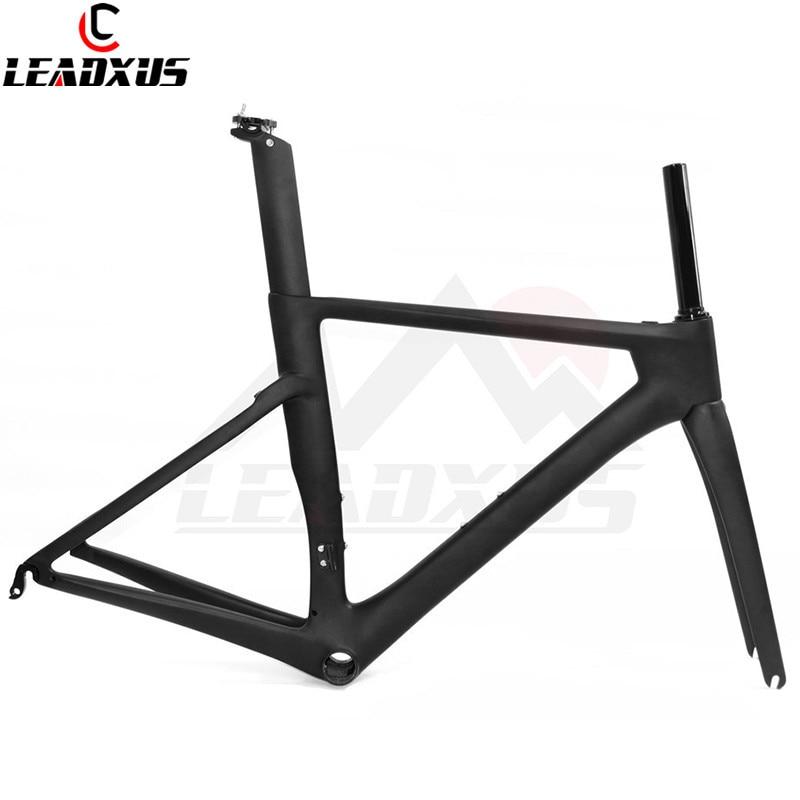 LEADXUS CLW125 T800 Carbon Fiber Road Bike Frame+Fork+Seat Post+Clamp+Headset+BB30 Or BB68 Adapter Black Matte/Black Glossy