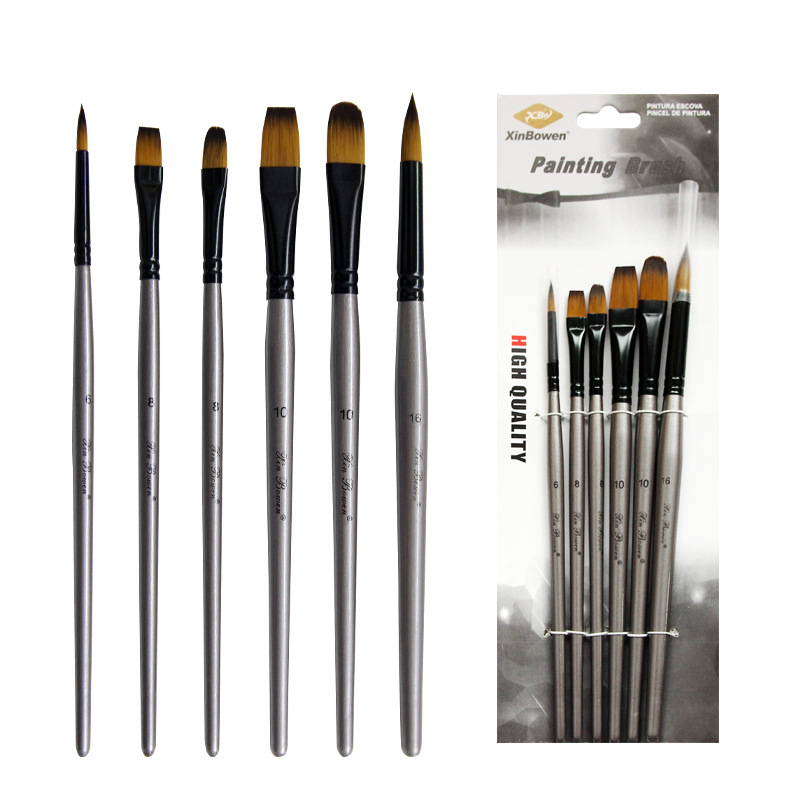 6pcs/set Nylon Hair Oil Painting Brush Different Shape Round Pointed Tip Set Gouache Watercolor Painting Pen Paint Art Supplies