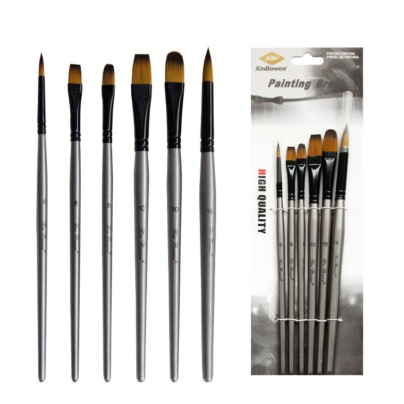 6pcs/set Nylon Hair Oil Painting Brush Different Shape Round Pointed Tip Set Gouache Watercolor Painting Pen Paint Art Supplies