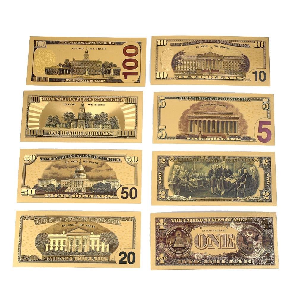 7 uds/8 Uds 1/2/5/10/20/50/100 dólares estadounidenses billetes en chapado en oro 24K moneda falsa dinero para regalos decoración del hogar