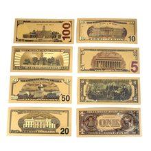 7 Uds./8 Uds. 1/2/5/10/20/50/100 dólares estadounidenses billetes de banco Note in 24K oro plateado moneda falsa dinero para regalos decoración del hogar