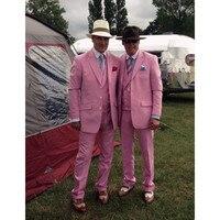 Pink Männer Anzug (Jacke + Pants + Weste) Bräutigam Jacke Slim Fit Smoking Stil Anzüge Nach Maß Prom/Partei Anzüge Männer Blazer