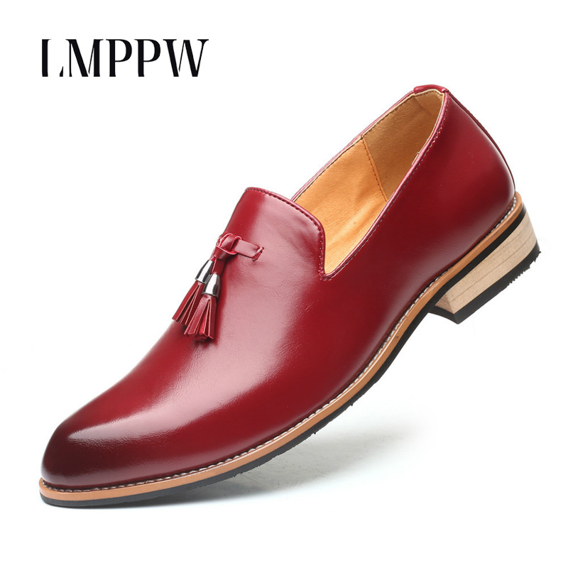 British Style Men's Dress Shoes Luxury Fashion Groom Wedding Shoes 2019 Autumn Leather Oxfords Men Formal Business Casual Shoes