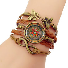 2019 NEW Mandala time gem Bracelet Vintage Combination Hand-Leather Bracelets Bangles For Women Men Best Friend Hot(China)