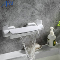Big Waterfall Faucet White Painted Bathtub Faucets Solid Brass Bathroom Basin Tap Bath Mixer Hot Cold Faucet