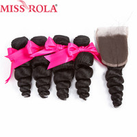 Miss Rola Hair Pre Colored Monggolian Loose Bundles With Closure Non Remy Human Hair Extension Natural Black Free Shipping