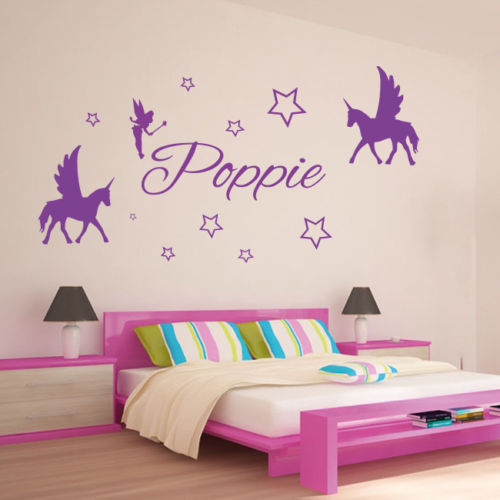 Unicorn Horse Wall Sticker Home Decor For Girls Room Custom Name Removable Stickers Vinyl Decal Art