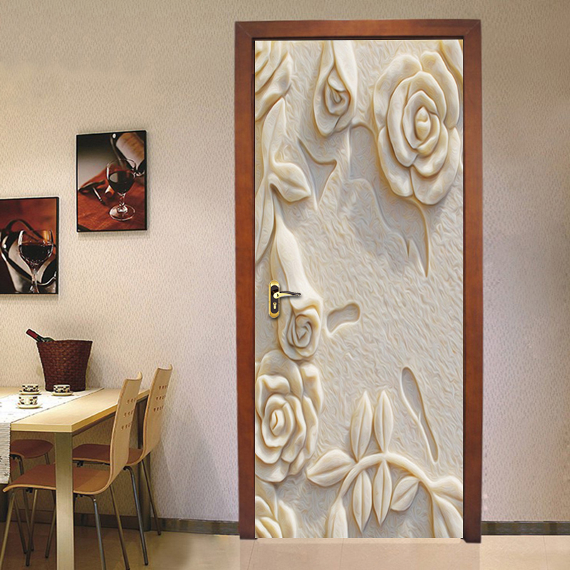 3D Door Sticker Mural PVC Self Adhesive Wall Painting Embossed Rose Photo Wallpaper Living Room Bedroom Door Wallpaper Murals 3D book knowledge power channel creative 3d large mural wallpaper 3d bedroom living room tv backdrop painting wallpaper