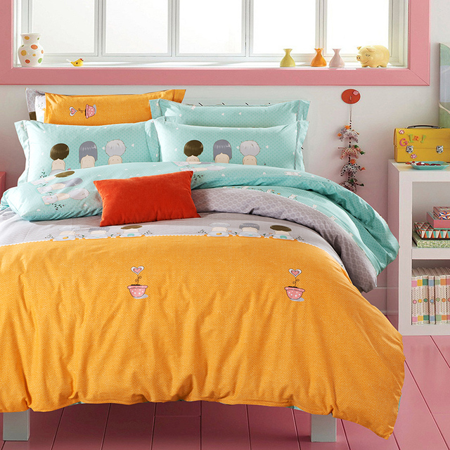 Cartoon Orange Grey Light Turquoise Bedding Sets Queen King Size 100 Cotton