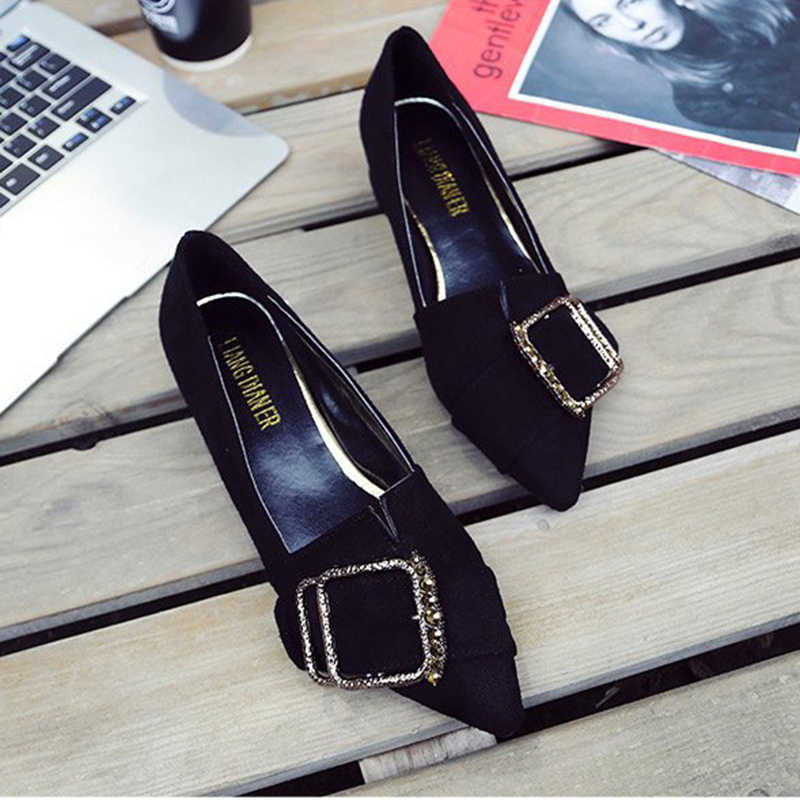 f08c61ccc Flock Chunky single zapatos mujer low heel pointed toe loafer bling luxury  crystal square buckle decorate