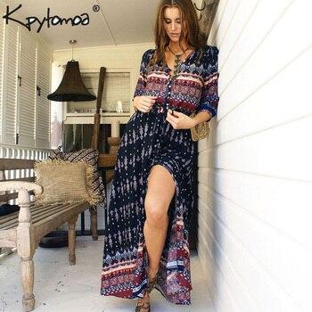 c14acbd35c4 Boho Винтаж цветочный принт Длинные платья для женщин Мода 2019 г. V  образным вырезом летние пляжные платье макси роковой vestidos mujer плюс  размеры