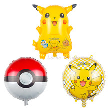 Lucky New Arrivals Pokemon Pikachu Balloon Birthday Party Wedding Decoration Globos Cute PokeBalls Foil Helium Balloons Toys