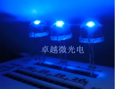 8mm Blue Straw Hat Light LED Emitting Diode Ultra Bright Lamp Bead Plug-in DIY Kit Practice Wide Angle 8 Mm 500 Pcs/lot