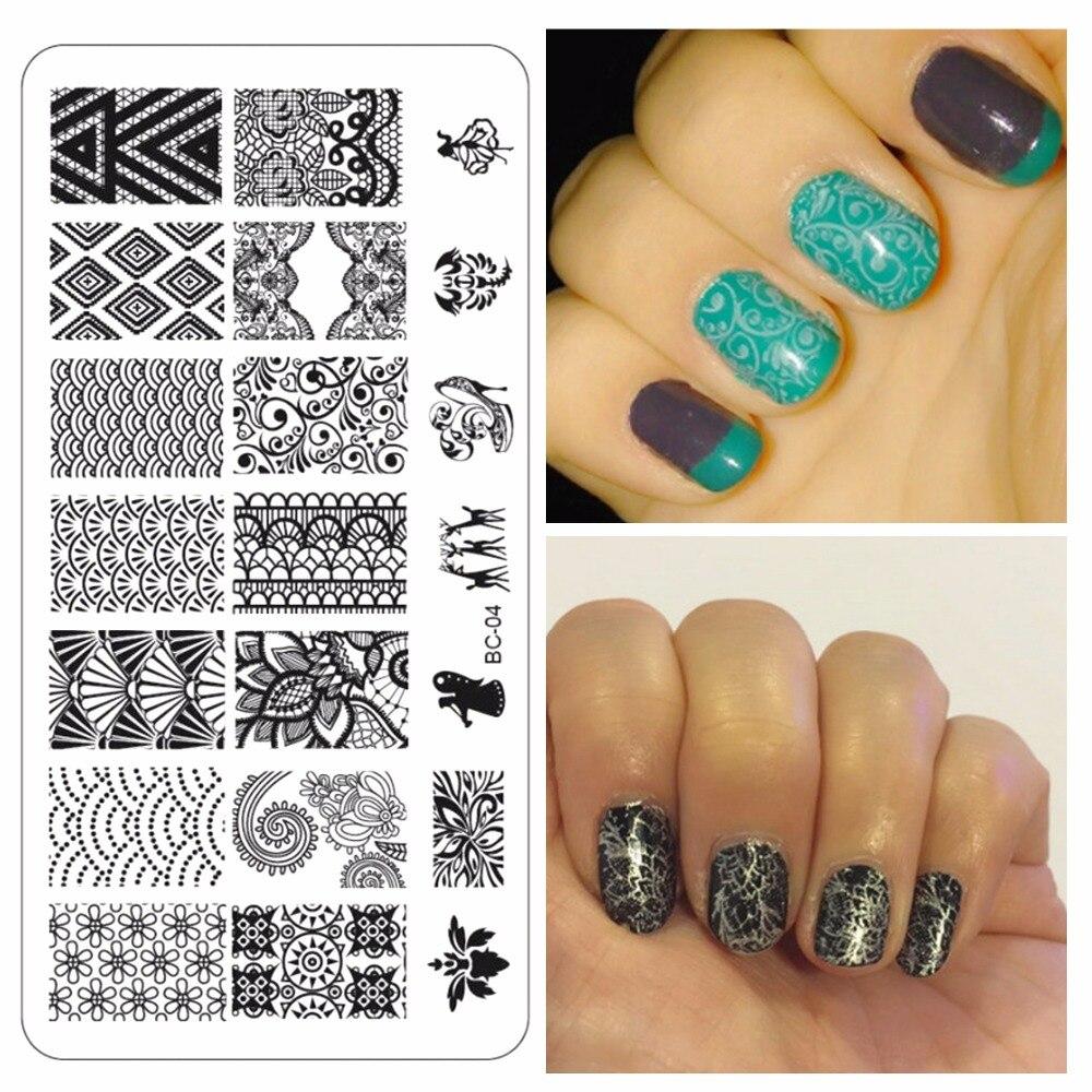 5a2cd546b YZWLE 1 pc Moda Koronki Projektowania Paznokci Tłoczenia Płyt Nail Art  Stamp Obraz Płyty Zestaw Do Manicure Szablon Nail Narzędzia