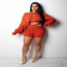 4eea63942e Sexy Knitted Two Piece Set Women Clothes Crop Tops+Shorts Suits Autumn  Outfits Casual Stripe