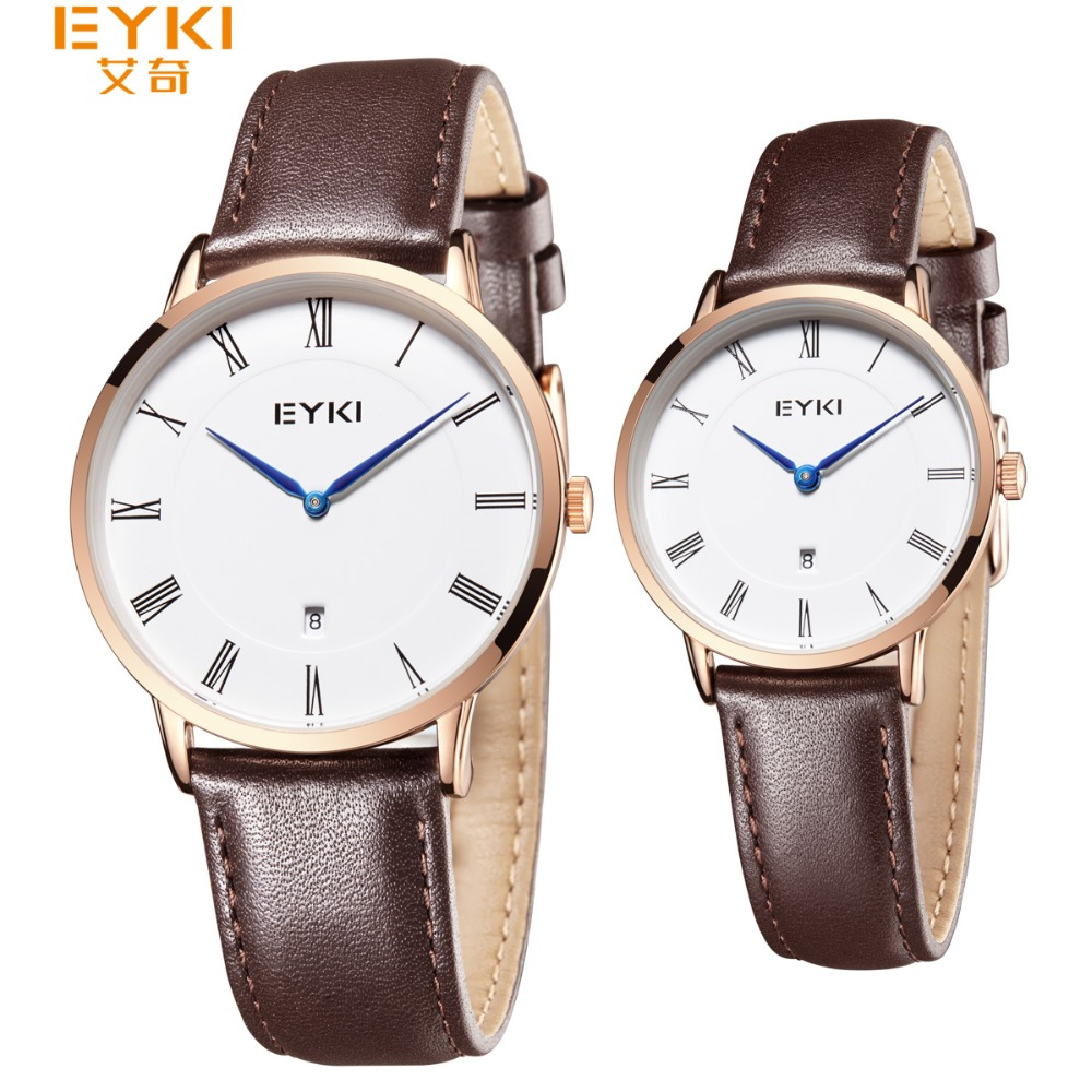 Eyki Mens Watches Top Brand Luxury Ultra Slim Calendar Display Quartz Watch Lovers 2018 Business Leather Band Relogio Masculino 2017 real eyki brand couple watches top luxury men s leather wrist lovers dress quartz watch waterproof relogio masculino