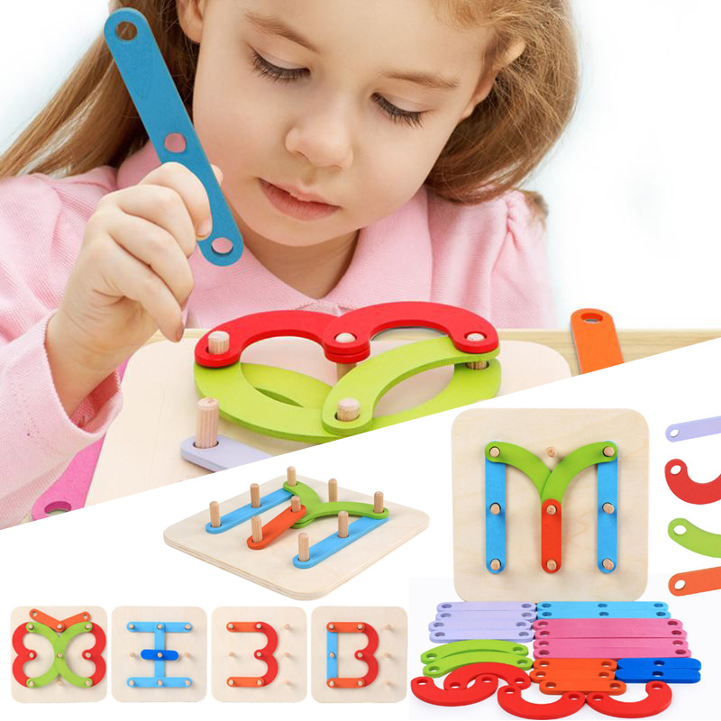Montessori Toy Wooden Letter Number Wood Puzzle Toy For Children Kids Development Educational Toys