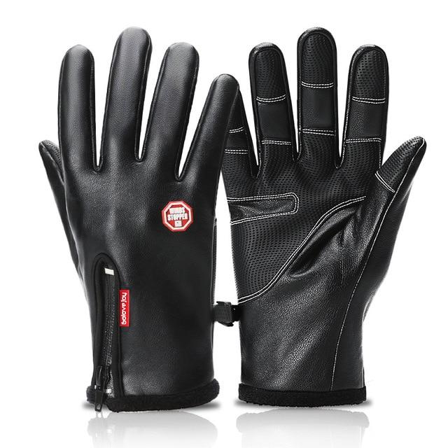Ветрозащитный кожаные лыжные перчатки защиту от холода сенсорный экран теплые Нескользящие Перчатки для мужчин и женщин из плотного флиса Водонепроницаемый на молнии