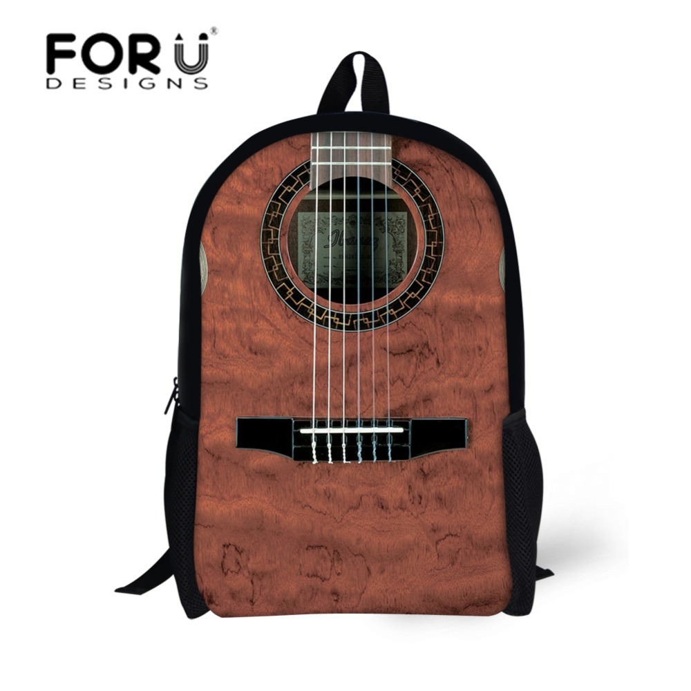 FORUDESIGNS Newest School Bags Cool Guitar Design Backpack for ...