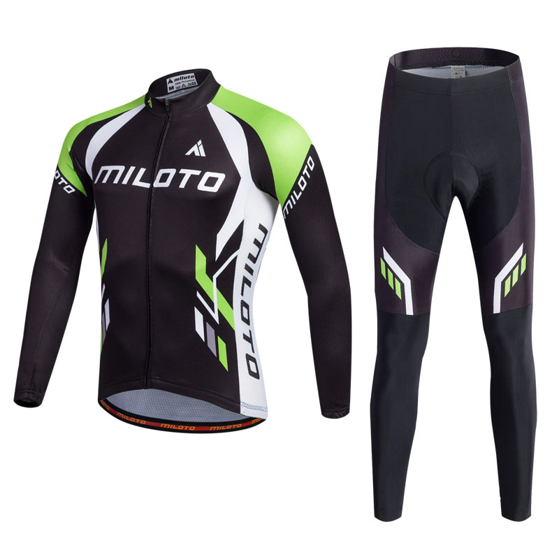 Miloto Men's Cycling Jerseys Set Long Sleeve Man Bike Clothing MTB Jerseys and GEL Padded Pants / Trousers / Tights Suit Cycle new brand phantom bike bicycle cycling jerseys short set sports t shirts gel padded tights for men
